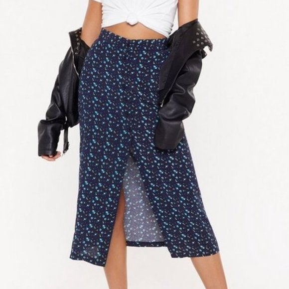Nasty Gal ditsy button front maxi skirt